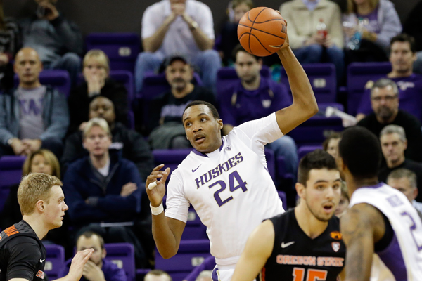 Washington's Robert Upshaw in action against Oregon State in an NCAA college basketball game Thursday, Jan. 15, 2015, in Seattle. (AP Photo/Elaine Thompson)