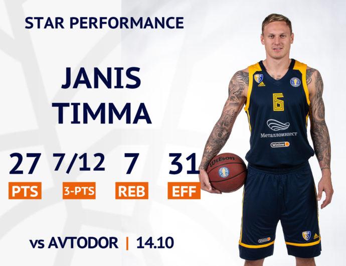 Star performance. Janis Timma against Avtodor
