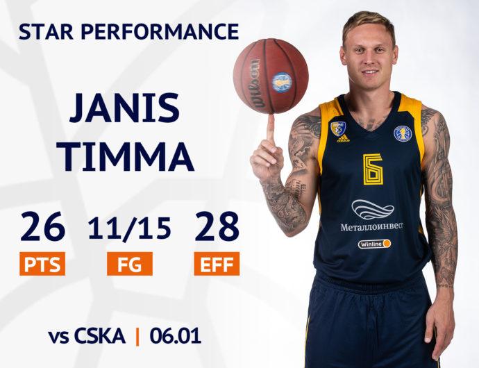 Star performance. Janis Timma vs CSKA